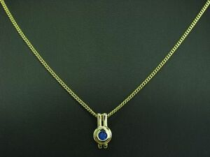 8kt 333 Yellow Gold Chain & Pendant With 0,25ct Synth. Tanzanite Trim / 50cm