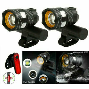 2 x 15000LM T6 LED MTB Bicycle Light Bike Rear Front Headlight USB Rechargeable