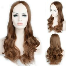 Long Synthetic Hair Full Wig Natural Curly Straight Ombre Brown Blonde Mix Wigs