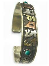 Big Tibetan 3-color Copper Lotus Filigree Turquoise OM Mani Amulet Cuff Bracelet
