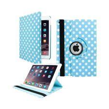 iPad Air 2 Polka Dot Design Rotating Case With Stand - Blue & White