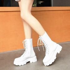 Womens Med Platform Heels Round Toe Mid Calf Riding Boots Lace Up British Shoes