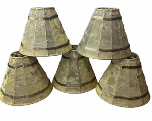 """SET of 5 MINI CHANDELIER SHADES Gold Sequin Floral Stitching CLIP ON STYLE 4"""""""