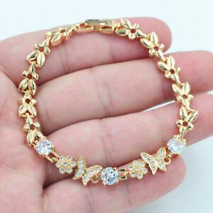 18K Yellow Gold Filled Women Clear Mystic Topaz Butterfly Bracelet Jewelry