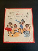 Vintage 1940's Get Well Soon Greeting Card Kid Band