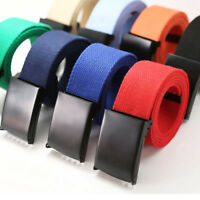 New Mens Womens Unisex Cotton Canvas Fabric Webbing Black Buckle Belt Fashion