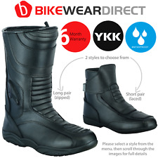 Leather Motorbike Motorcycle Boots Waterproof Touring Biker Armour Protect Cut
