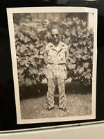 Vintage Black and White Photo Man US Marines army military camo sunglasses cool