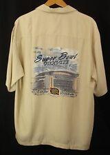 Super Bowl XXVIII NFL Reliant Stadium Brown Button Down Short Sleeve Shirt New