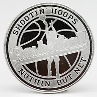 Basketball Hoops Sport 1 oz Silver Round Medal 999 ounce Gift Athlete - JC183