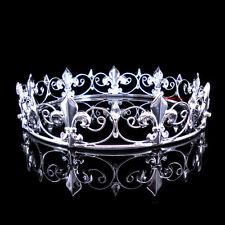 Boy's Imperial Medieval Fleur De Lis Silver King Crown 3.5cm High 15cm Diameter
