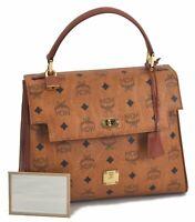Authentic MCM Cognac Visetos Leather Vintage Hand Bag Brown B8078