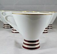 6 Vintage Narumi China Modern Footed Coffee Tea Cups Maroon & Gold Bands 1970s
