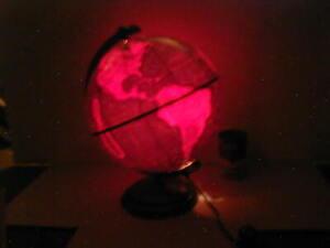 "1947 Plasti-Lite 10"" Plastic World Globe LAMP Night Light Vtg Home Decor MCM USA"