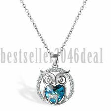 925 Silver Made With Swarovski Crystals Owl Pendant Necklace Womens Lady Gifts