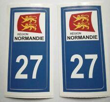 2 Stickers autocollant pour plaque immatriculation département 27 Eure Normandie