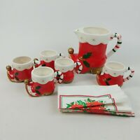 Napco 7Pc Holiday Cheer Tom & Jerry Set w/ Box (1 Cup Missing) Vintage