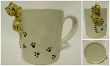 Cat Climbing Coffee Mug Leaving Paw Prints Pottery Hand Made Painted Kitten 3D