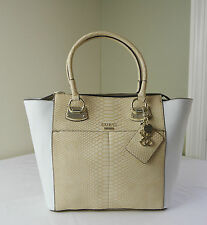 Guess Nude White Python Embossed Lake Shore Carryall Tote