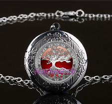 Celtic Tree Of Life Photo Glass Gun Black Chain Locket Pendant Necklace