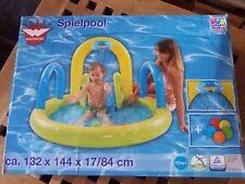 Baby Spielpool 132 x 144 x 84 cm, gelb/blau mit Rutsche, Spritzfunktion + Bälle