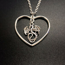 Dragon Jewelry Dragon Necklace Silver Dragon Pendant Necklace Silver Heart