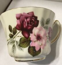 Vintage Delphine Bone China England  Saucer Red Roses On White