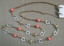 """New 36"""" Long Gold Silver Loop Starfish Beach Necklace Earring Set Coral Layer"""
