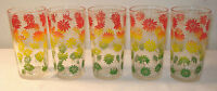5 Federal Glass Tumblers Red Flowers Daisy Green Yellow Glasses Set Swanky Swig