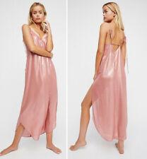 FREE PEOPLE Anytime Shine Maxi Slip DRESS S Rose Gold Metallic NEW