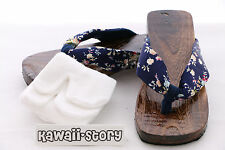 K-G-04 Geta blau blue Japan Holz Sandale Socken für Kimono Yukata (24,5cm/Gr 38)
