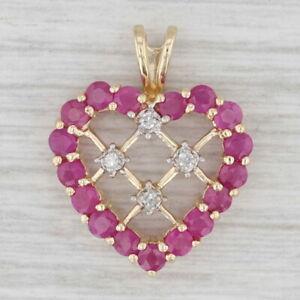 1.08ctw Ruby Diamond Lattice Work Heart Pendant 10k Yellow Gold July Birthstone