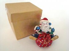 Jeweled Trinket Hinged Box - Santa with Red Toy Bag Jeweled