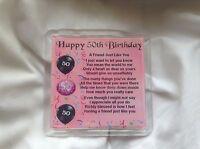 Personalised Coaster - Friend  Poem - female - 50th  Birthday  +  FREE GIFT BOX