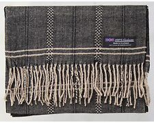2 PLY Men Cashmere Scarf Brown Beige Flannel Check Plaid Soft Scotland Wool R61