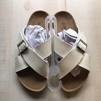 NEW Seranoma Criss Cross Footbed Comfort Women's Slides Sandals White 6
