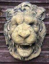 "TESTA di LEONE FONTANA Muro Placca Maschera Frost a prova di pietra Decorazione Giardino 50cm/19""H"