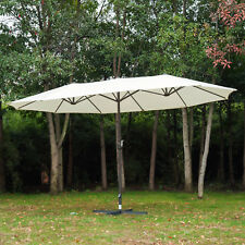 Outsunny 4.6M Double-Sided Patio Umbrella Garden Parasol Market Canopy Crank