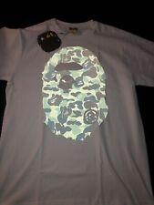 Bape A Bathing Ape Green Big Ape Head Reflective Camo Size M White Shirt New Bag