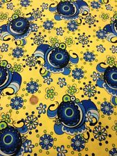 Spyro Gyro Fabri-quilt Floral 100% Cotton quilting craft fabric Blue Yellow