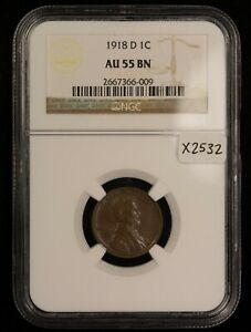 1918-D 1c Lincoln Wheat Small Cent - NGC AU 55 BN - SKU-X2532