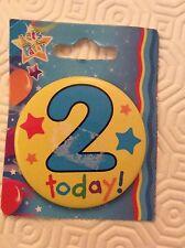 "BIRTHDAY BADGE  ""2 today"" FREEPOST UK PARTY"