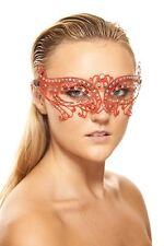 Elegant Red Venetian Clear Rhinestone Laser Cut Masquerade Mask Wedding  Prom