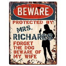 PPBW 0215 Beware Protected by MRS. RICHARDS Rustic Tin Sign Funny Gift Ideas