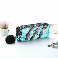 Women Mermaid Sequin Glitter Cosmetic Bag Pencil Box Coin Purse Makeup Case_GG Blue