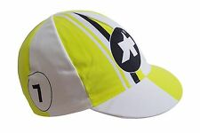 Cycling Cap ASSOS Canary Yellow Made In Italy 100% Cotton Retro Fit Racer EURO