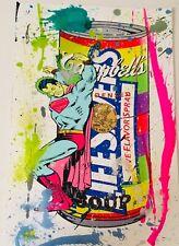 MR CLEVER ART LUXURY PRISONER SUPERMAN hand finished print soup can street art