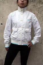 Sergio Tacchini Women shell Top Jacket Lined retro 80s Cotton M  White Sky Blue