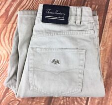 THOMAS BURBERRY St. Louis Jeans Button Down Beige Cotton Trousers W30 L32