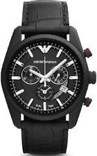 Armani Herren Sportivo Uhr AR6035 Schwarz Zifferblatt Schwarz Lederband, COA, RRP £ 359